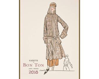 "Wall Calendar 2018 (12 pages 8""x11""/A4) Vintage Fashion Gazette du Bon Ton Pochoir Art Deco M704"