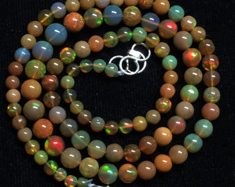 """30% Off AAA Natural Ethiopian Opal Round Balls Beads Gemstone 3.5-5.5mm 16""""Inches Long Welo Opal Necklace BL137"""
