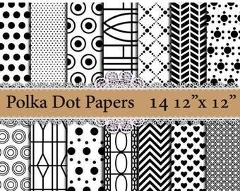 "SALE40% Polka Dot digital paper: ""BLACK POLKA Dots"" Polka dot patterns,Printable patterns,Polka Dot Background,Wedding Papers,Black and Whit"
