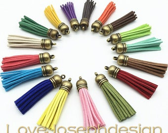 Set of 50 or 100pieces Assorted colors suede leather bronze plastic caps ear tassel --for length 65mm