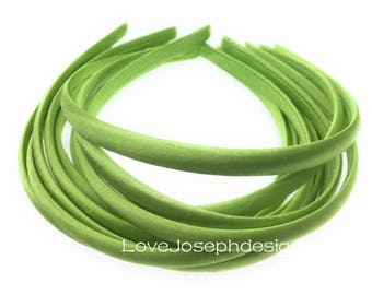 10pieces olive green satin plastic hair headband covered 10mm wide