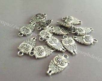 wholesale 100Pieces /Lot Antique silver Plated 18mmx9mm dounble side owl Charms (#001)