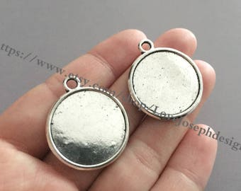 wholesale 100 Pieces /Lot Antique Silver & Bronze Plated 22mm (inner both side) cabochon bezel trays charms(#0533)