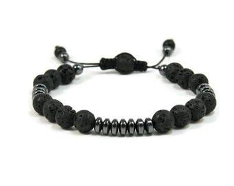 Urban Men's Lava & Hematite Pull Tie Single Bracelet. Boho Jewelry. Bohemian Jewelry. Ideas for him. Gift for him.