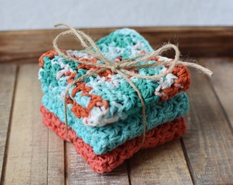 Coral Crochet Washcloth Set | Crochet Dishcloth Set | Cotton Washcloths | Cotton Dishcloths | Crochet Cloths