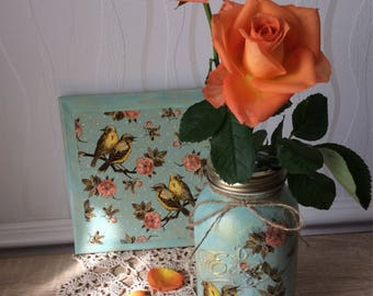 READY TO SHIP hand  decorated floral bird vintage style 1 L mason jar, vintage style, storage jar, home decor, flowers, shabbychic, mothersd