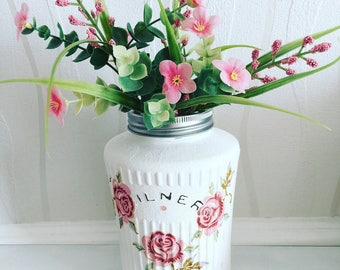 Emma Bridgwater hand decorated Kilner jar, rose and bee, vase, storage jar, mason jar, roses, decoupage, hand decorated