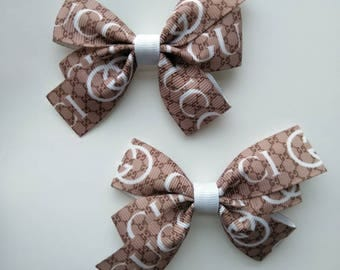 Designer inspired hair bow, brown hair bow, Gucci inspired hair bow, School hair bows, fancy hair bows, g hair bows, baby Gucci headband