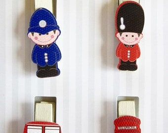 PAQUES Lot de 4 pinces, sujets de LONDRE
