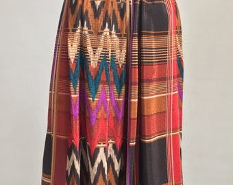 Vintage Polyester Skirt with Flame Stitch & Madras Print Pattern and Elastic Waistband/Size 8-Medium