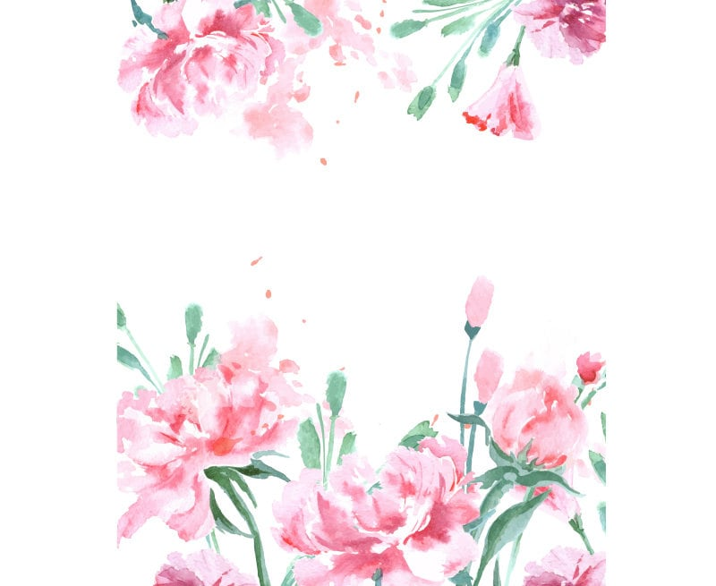 Watercolour flower frame background clip art graphic - High resolution watercolor flowers ...