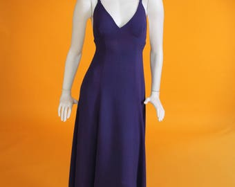 Ossie Clark for Radley. Vintage 1970s Moss Crepe Violet Backless Maxi Dress. UK 8-10 US 4-6  Size Small.
