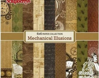 12 papers 15.2 x 15.2 cm SCRAPBERRY's MECHANICAL ILLUSIONS
