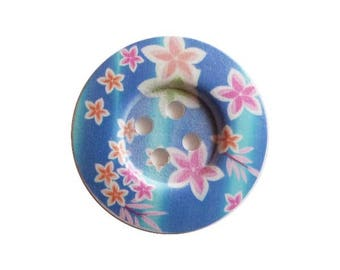 2 round wooden buttons sewing, child, 5 cm flower blue background scrapbooking