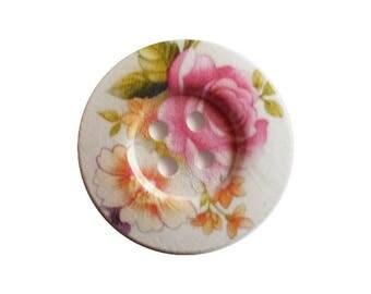 2 round wooden buttons sewing, children, scrapbooking, 5 cm Flower Pink