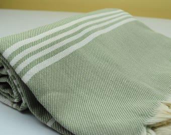 All Cotton Turkish Peshtemal for Bath Spa Sauna Beach Towel 100% Cotton Extra HIGH Quality Hammam towel Turkish Towel SPIKE Green