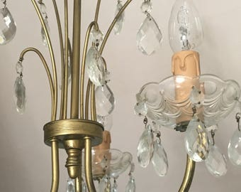 Vintage French Chandelier 1950s/60s 3 Arm Bronze Crystal Glass Drops Shabby Chic Hollywood Regency Rewired USA/EU Compatible