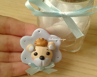 Prince teddy bear polymer clay favor baptism baby shower favors first birthday favors teddy bear magnet