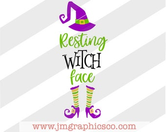 Resting Witch Face svg, eps, png, cricut, cameo, scan N cut, cut file, halloween svg, witch svg, fall svg, funny halloween svg, witch hat