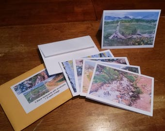 Set of 5 Blank Greeting Cards, 5 Different Designs of Art Prints