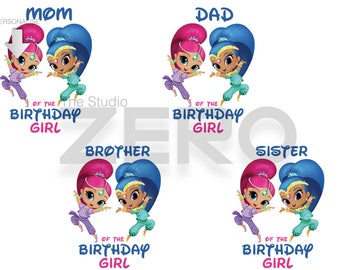 Shimmer And Shine Bday Clipart, Personalize, Printable Iron On Transfer, SnS, Family Shirt, Mom Dad Bday Shirt, Disney Shirt, S&S Clipart