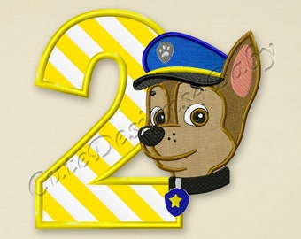 Paw Patrol Chase Number 2 applique embroidery design, Paw Patrol Machine Embroidery Designs, Embroidery designs baby, Instant download #031