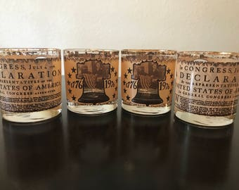 Vintage Bicentennial Glasses/4th of July Lowball Glasses/Gold Independence Day Whiskey Glasses/Vintage Avon Bicentennial Glassware