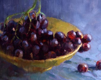 Red grapes - original oil painting, alla prima oil painting, one of a kind