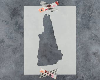New Hampshire State Stencil - Hand Drawn Reusable Mylar Stencil Template