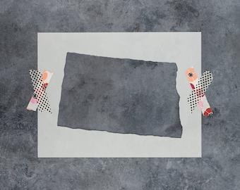 North Dakota State Stencil - Hand Drawn Reusable Mylar Stencil Template