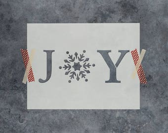 Joy Snowflake Stencil - Reusable DIY Craft Christmas Joy Stencil