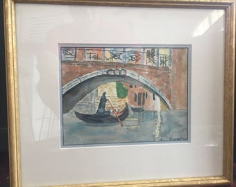small original watercolor of Venetian gondola, signed Lewis Arthur