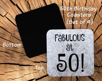 50th Birthday Coasters Set of 4 -  50th Birthday Party Favors - Funny 50th Gag Gift for Friend Coworker Men Women Him Her - Fabulous at 50