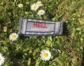 ticket to hell patch, hell movie stub,  hell movie stub patch, cinema ticket patch, hell admit one,  hell film ticket, hell admission pass,