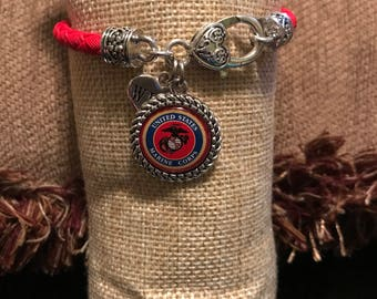 United States Marine Corps red leather lobster claw bracelet with domed charm and accent charm