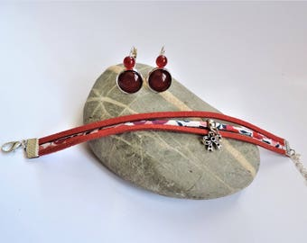 finery ღ adornment ღ Burgundy bow adornment liberty red ღ ღ red suede bracelet set and earrings
