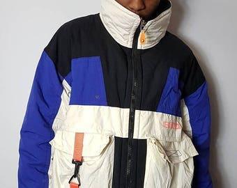 SALE 1990's HEAD Ski Jacket / Neon Head Sportswear Winter Skiing Bomber Coat 90s Retro Throwback Hip Hop FREE Shipping