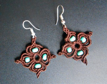 "Earrings (pierced) ""Petites Fleurs"" macrame woven with pearls"