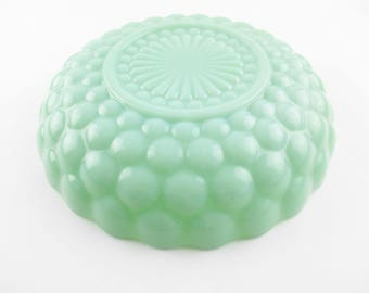 "Fire-King Jadeite Green - 8 1/2"" Bubble Bowl -  'Bubble' Pattern - Jadeite Bubble Glass - Anchor Hocking - Jadeite Bubble Glass Candy Dish"