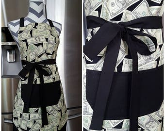 Adult apron. Woman's apron. Money with black pocket, ties and frills.