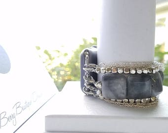Apple Watch Band 38mm, Apple Watch Band 42mm, Gray Gemstones, Silver Cube Beads and Chain