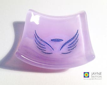 Glass angel bowl, symbol of love, violet purple glass dish, tea light candle holder, angelic gift, earring dish, tealight holder