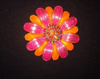 Vintage Boho Flower Power Pink and Orange Brooch