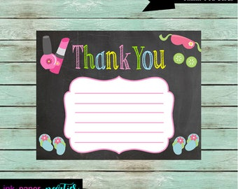 Spa Makeup Manicure Nail Salon Chalkboard Birthday Thank You Note Cards - DIY - Digital File - Instant Download