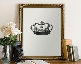 Hers Print, Queen Crown Print, Antique Crown Art, His & Hers Set, Set of 2 Art, Wedding Gift, Anniversary Gift, Instant Download