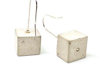 Concrete/925 sterling silver cube earrings