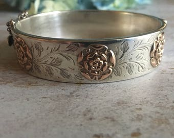 Vintage British Sterling Silver Tudor Rose Bracelet | Hallmark Birmingham 1960s | Silver Bracelet | Sterling Cuff | English Roses
