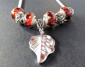 Necklace Charms leaf Lampwork beads