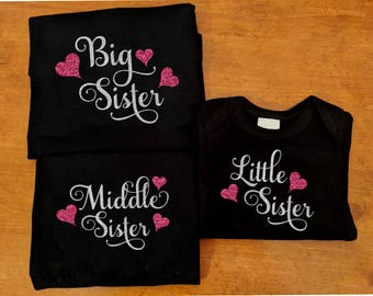 Big Middle Little Sister Matching Shirts - Matching Sister Shirts - Big Sister Middle Sister Little Sister Swirl Hearts