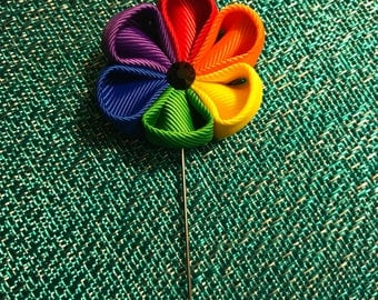 Handmade Rainbow Fabric Flower Boutonniere / Lapel Pin  IN STOCK NOW!